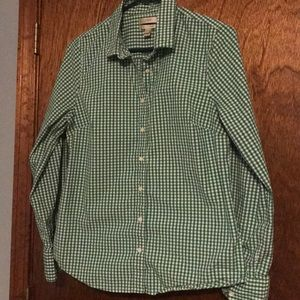 J.Crew green gingham button down. ☘️